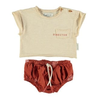 "Baby T-Shirt & Baby Shorties - Sand w/""Director"" & ""Casting"" Garnet Prints Garnet w/""Festival"" All Over"
