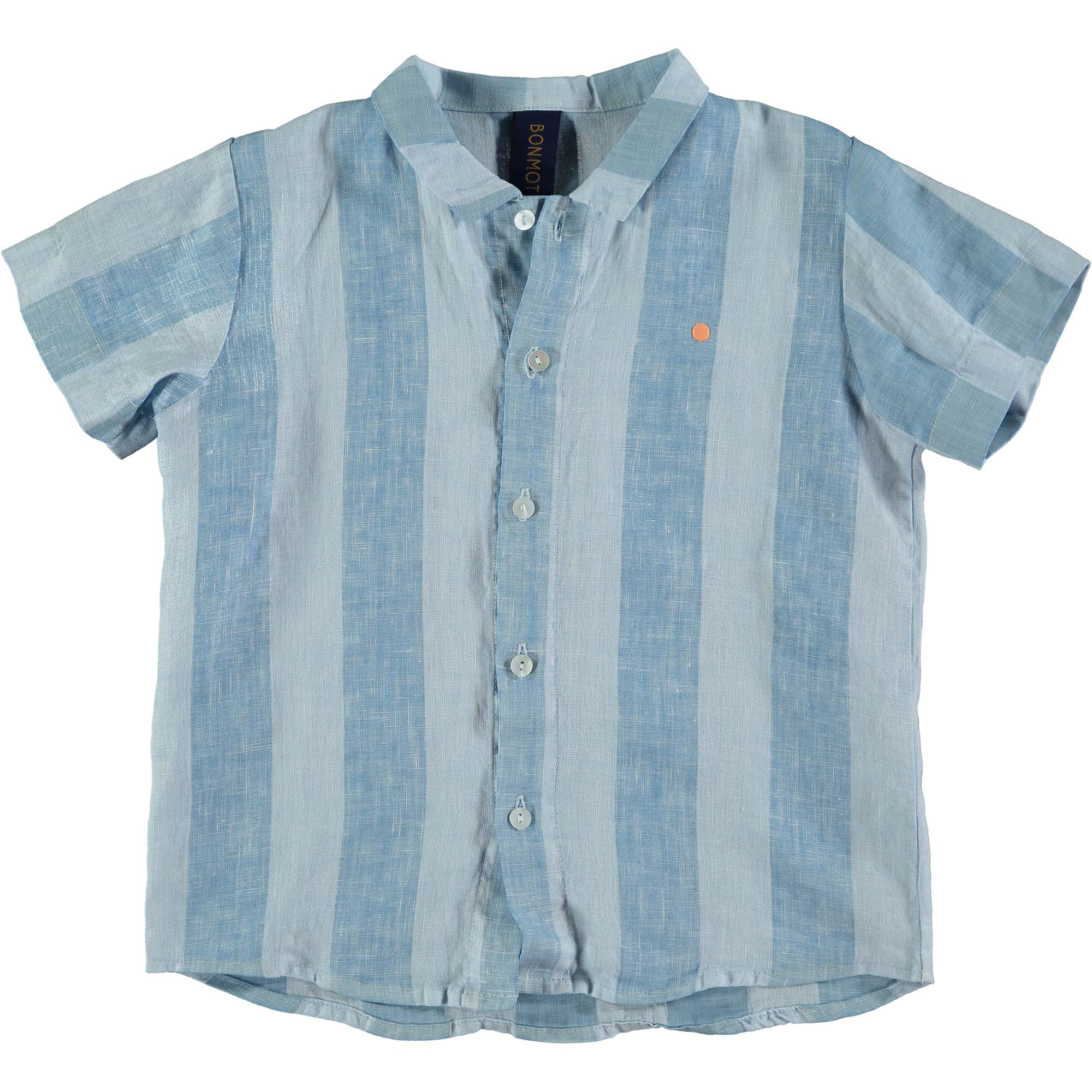 Shirt Linen Wide Striped - Light Blue
