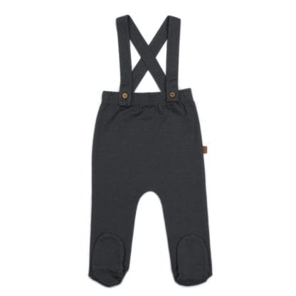 Organic Footed Suspender Pants - Storm